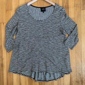 Anthropologie W5 Striped Knit Top Black/Tan Medium
